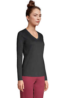 Women's Tall Relaxed Supima Cotton Long Sleeve V-Neck T-Shirt, Unknown