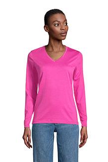 Le T-Shirt Supima Col V Manches Longues, Femme