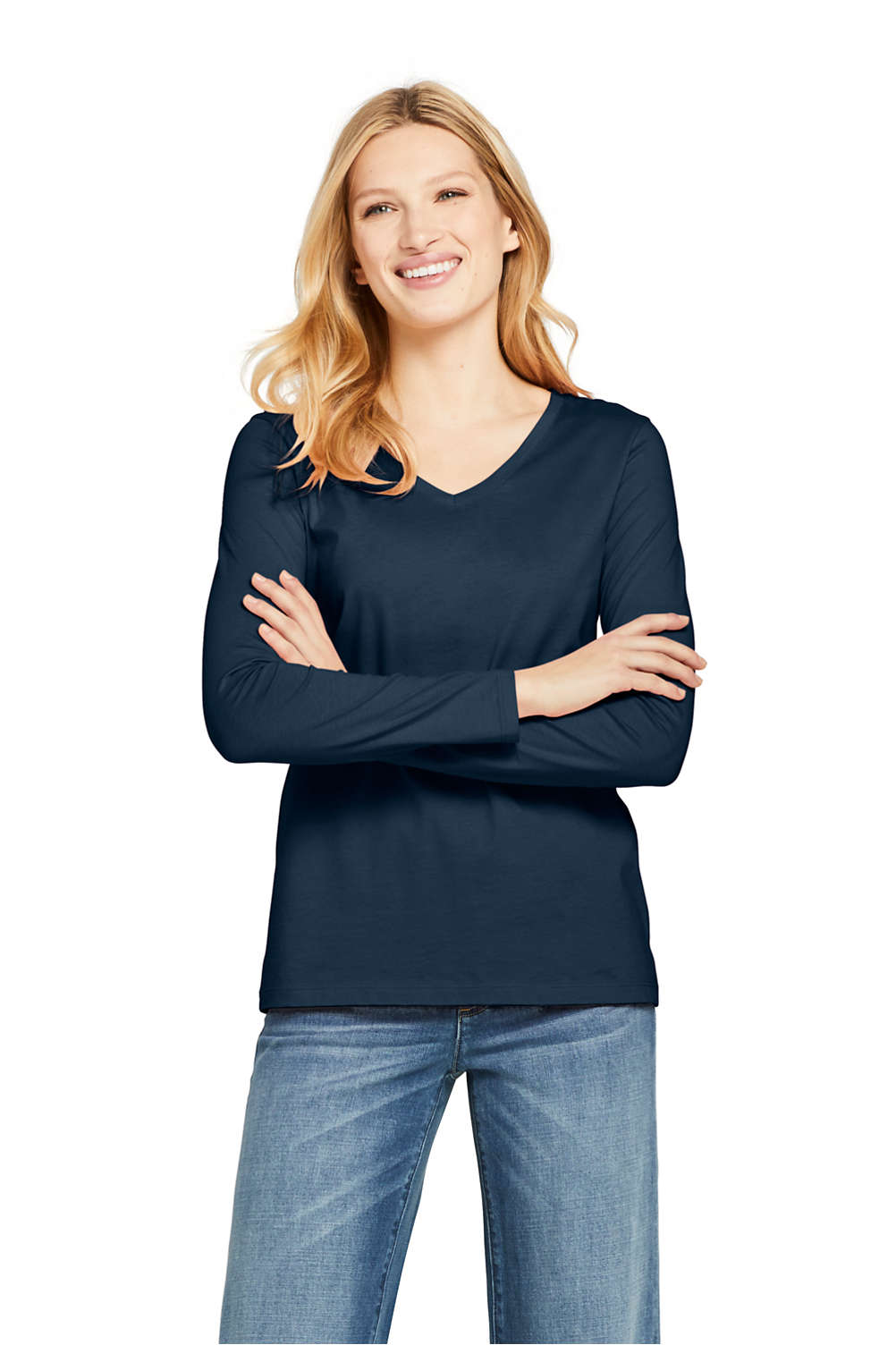 f70dbb863 Women's Relaxed Fit Supima Cotton V-neck Long Sleeve T-shirt from Lands' End