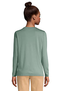 Women's Petite Relaxed Supima Cotton Long Sleeve V-Neck T-Shirt, Back