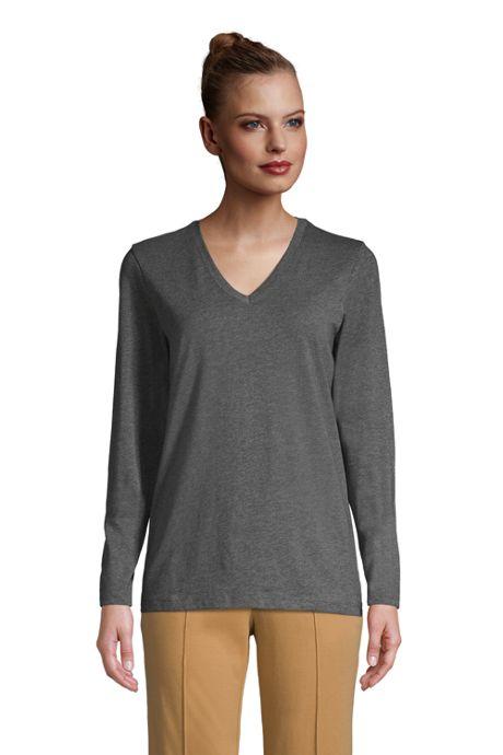 Women's Petite Relaxed Supima Cotton Long Sleeve V-Neck T-Shirt