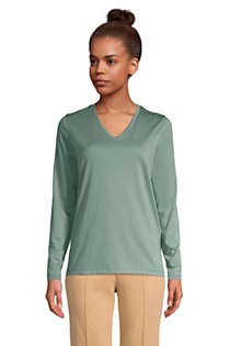 Women's Tall Relaxed Supima Cotton Long Sleeve V-Neck T-Shirt, Front