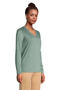 Women's Tall Relaxed Supima Cotton Long Sleeve V-Neck T-Shirt, alternative image