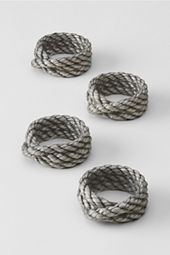 Pewter Rope Napkin Rings (Set of 4)