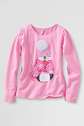 Girls' Long Sleeve Cozy Penguin Graphic T-shirt