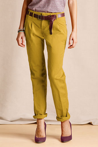 Women's Pleated Slim Slouch Chinos - Oro, 14