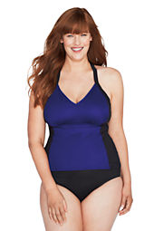 Women's Plus Size Slender Tech V-neck Tankini Swimsuit Top