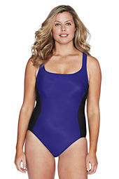 Women's Plus Size Slender Tech Scoopneck One Piece Swimsuit