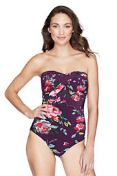 Women's Seaside Gardens Rose Floral Bandeau One Piece Swimsuit