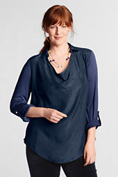 Women's Plus Size Roll Sleeve Silk Shirt