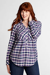 Women's Plus Size Long Sleeve Empire Waist Flannel Tunic