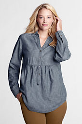 Women's Plus Size Long Sleeve Empire Waist Chambray Tunic
