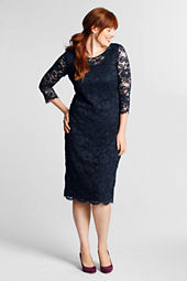 Women's Plus Size 3/4-sleeve Lace Ponté Dress