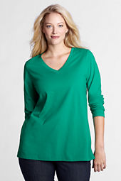 Women's Plus Size Long Sleeve Supima V-neck Tunic