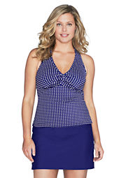 Women's Plus Size All-over-control Dot Twist Tankini Top