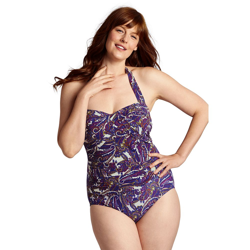 Lands' End Women's Plus Size Paisley Halter One Piece Slender Suit at Sears.com