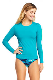 Women's Petite Crew Neck Long Sleeve Rash Guard UPF 50 Sun Protection Modest Swim Tee