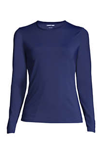 Women's Plus Size Crew Neck Long Sleeve Rash Guard UPF 50 Sun Protection Modest Swim Tee, Front
