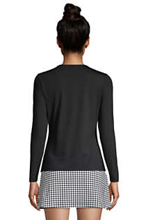 Women's Petite Crew Neck Long Sleeve Rash Guard UPF 50 Sun Protection Modest Swim Tee, Back