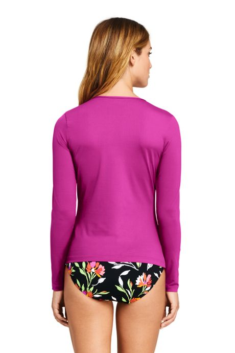 Women's Petite Long Sleeve Swim Tee Rash Guard