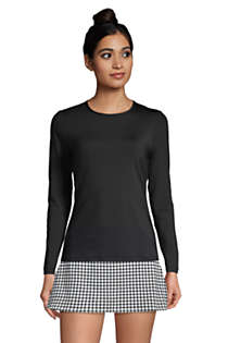 Women's Petite Crew Neck Long Sleeve Rash Guard UPF 50 Sun Protection Modest Swim Tee, Front