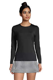 Women's Long Crew Neck Long Sleeve Rash Guard UPF 50 Sun Protection Modest Swim Tee