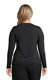 Women's Plus Size Crew Neck Long Sleeve Rash Guard UPF 50 Sun Protection Modest Swim Tee, Back