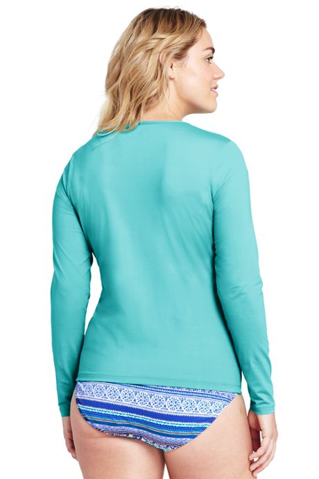 Women's Plus Size Long Sleeve Swim Tee Rash Guard