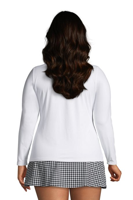 Women's Plus Size Crew Neck Long Sleeve Rash Guard UPF 50 Sun Protection Modest Swim Tee