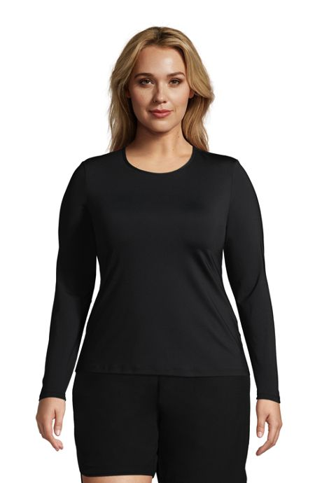 Women's Plus Size Long Crew Neck Long Sleeve Rash Guard UPF 50 Sun Protection Modest Swim Tee