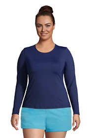 Women's Plus Size Long Long Sleeve Swim Tee Rash Guard