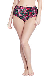 Women's Plus Size Seaside Gardens Watercolor Floral Mid Rise Swimsuit Bottom with Tummy Control