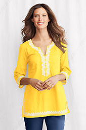 Women's 3/4-sleeve Embroidered Splitneck Tunic