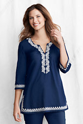 Women's Cotton Three Quarter Sleeve Embroidered Tunic