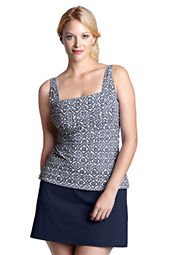 Women's Plus Size Beach Living Island Batik Squareneck Tankini Top