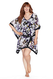 Women's Floral Chiffon Poncho Cover-up