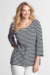 Women's 3/4-sleeve Stripe French Terry Balletneck Top