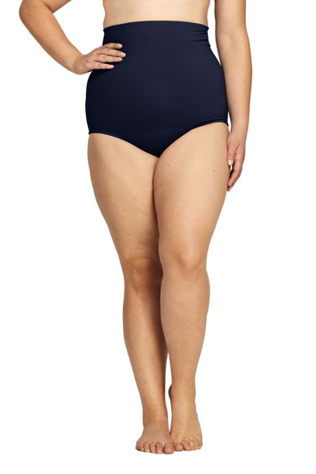 Women's Plus Size Tummy Control Ultra High Waisted Modest Bikini Bottoms