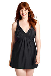 Women's Plus Size V-neck Slender Suit  Swimdress