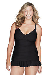 Women's Plus Size Slendersuit Ruffle Sheath Swimdress