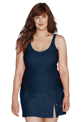 Women's Plus Size Texture Sweetheart Tankini Top - Charlotte Teal, 26W
