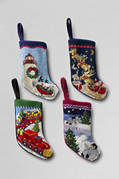 Needlepoint Mini Stocking Ornaments (Set of 4)
