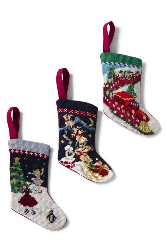 Set of 3 Mini Needlepoint Stocking Ornaments