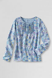 Girls' Ruffle Pattern Pintuck Front Top