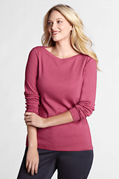Women's Plus Size Long Sleeve 1x1 Rib Solid Boatneck Top