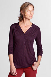 Women's Long Sleeve Printed Drape Notch Henley Top