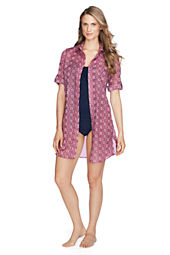 Women's Geo Cotton Voile Shirtdress Cover-up