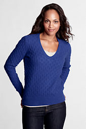 Women's Long Sleeve Meridian Cable V-scoop Sweater