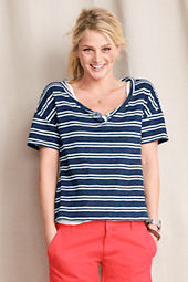 Women's Slub Jersey Striped Henley