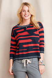 Women's Broken Stripe Cotton Linen Sweater